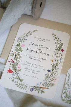 Wildflower Wedding Invitation set Floral Garden by AdorePaperCo