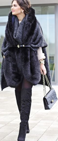 Navy Belted Faux Fur Vest by Fashion Hippie Loves