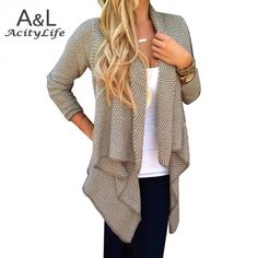 Cheap cardigan casual, Buy Quality sweater cardigan directly from China knitted sweater Suppliers: 2016 Winter New Women Long Sleeve Thick Sweaters Cardigans Casual Solid Irregular Knitted Sweater Outwear Winter Coat Cardigan Casual, Cardigan Fashion, Cardigan Sweaters For Women, Sweater Coats, Cardigans For Women, Knit Cardigan, Thick Sweaters, Loose Sweater, Long Cardigan