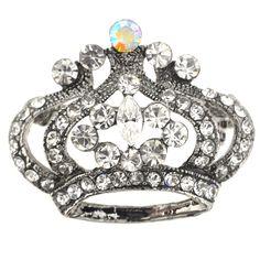 Vintage Silver Crystal Crown Pin Brooch - Fantasyard Costume Jewelry & Accessories