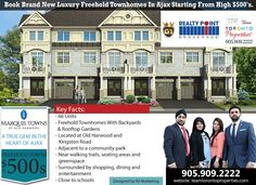 New Project in Ajax -FREEHOLD TOWNHOMES Marquis Towns is a freehold town homes project by Your Home Developments. Marquis Towns will be located at Old Harwood Avenue & Kingston Road in Ajax close to all amenities. Pre-Register for VIP pricing starting from high $500's http://www.teamtorontoproperties.com/marquistown/ Marquis Towns Highlights: ✅Minutes drive to Ajax GO Station ✅Close access to Highway 401 ✅Close to Shops, Restaurants, and Schools  CALL YOUR TTP SPECIALIST TODAY ☎️905-90