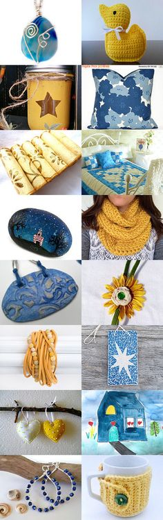 Bright Blue Mellow Yellow by Karina Scott on Etsy--Pinned with TreasuryPin.com