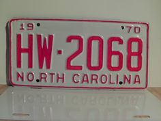 1970+North+Carolina+Rat+Rod+License+Plate+Tag+NC+#HW-2068+YOM