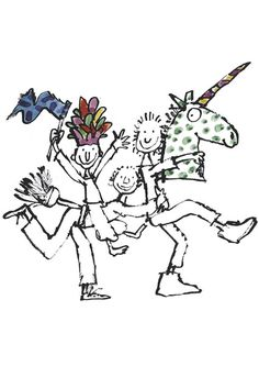 Quentin Blake One of 20 lifesize murals drawn for the Unicorn Theatre, London