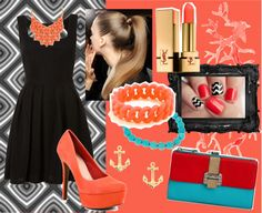 """""""Black, Coral, and a Pop of Turquoise"""" by makenzieambrose on Polyvore"""