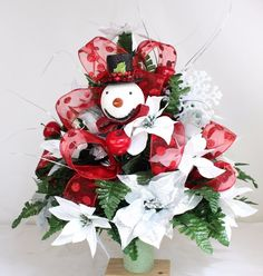 Beautiful White And Silver Poinsettia's Christmas Cemetery Flower Arrangement #Crazyboutdeco