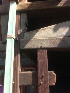 Greene & Greene, Gamble house, Pasadena.  Exterior post & beam detail.