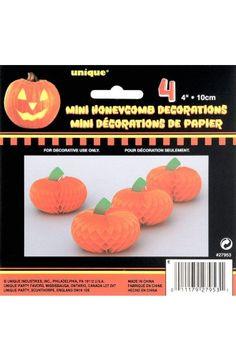 4 Pumpkin Mini Honeycomb Decorations - Halloween Party Decoration Ideas