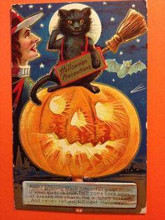 Halloween Precautions EX E Nash Postcard Black Cat Witch w Broom Flying Bat JOL | eBay