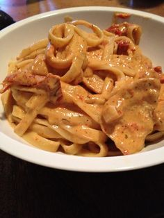 Cajun chicken Alfredo. I like the idea, but I think I would try to incorporate the spices into a healthier sauce.