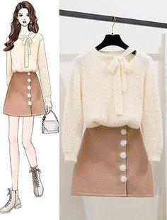 Korean Girl Fashion, Ulzzang Fashion, Kpop Fashion Outfits, Girls Fashion Clothes, Cute Fashion, Fashion Drawing Dresses, Fashion Illustration Dresses, Fashion Dresses, Pretty Outfits