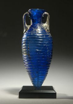 Roman cobalt glass amphoriskos, later 1st Century AD