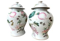 "Superb elegant Pair of lidded Chinese hand painted Porcelain Famille Rose Ginger Jars ,decorated with peaches, cabbage, corn, pomegranate, pumpkins etc.... marked on the bottom | 1980's | 8""dia x 14""h each 
