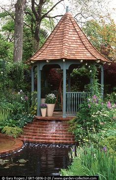 gazebo and cascading pool