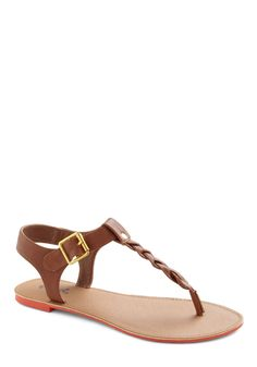 You've Got It Braid Sandal - Solid, Braided, Summer, Flat, Brown, Buckles --- I'd wear these with like everything.