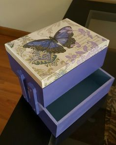 Diy And Crafts, Decorative Boxes, Vintage, Home Decor, Painted Mailboxes, Handmade Boxes, Flower, Madeira, Peach