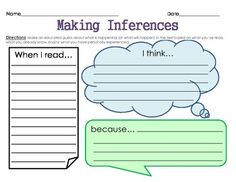 "Graphic Organizer: Making Inferences II - 1 graphic organizer ""When I read."" ""I think."" Great for independent reading and homework. Reading Lessons, Reading Resources, Reading Strategies, Reading Activities, Reading Skills, Teaching Reading, Reading Comprehension, Comprehension Strategies, Learning"