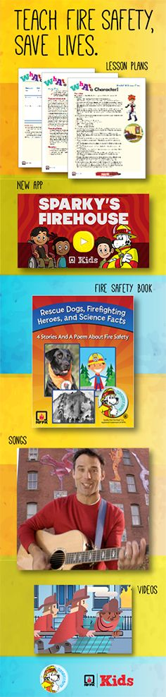 The NFPA and Sparky provide resources for teaching fire safety including apps, videos, lesson plans and activities. Fire Safety For Kids, Fire Safety Tips, New Classroom, Classroom Resources, Classroom Ideas, Fire Prevention Week, Community Helpers Preschool, Health Activities, Save Life