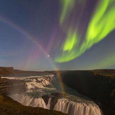 @iuriebelegurschi is a landscape photographer based in Reykjavik, Iceland. Follow @iuriebelegurschi to see more. Aurora and moonbow over Gullfoss waterfall. Explore. Share. Inspire: #earthfocus #nature #L4L #pretty #followback #beautiful