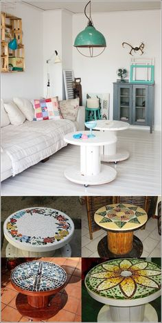 Como mesita para jardin o esquinero mesa-banquito Repurposed Furniture, Pallet Furniture, Furniture Projects, Furniture Makeover, Painted Furniture, Wire Spool Tables, Cable Spool Tables, Cable Spools, Spool Crafts