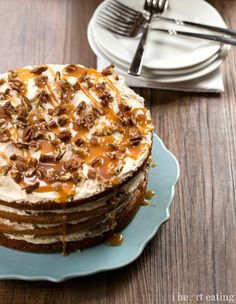 Browned Butter Pumpkin Spice Cake with Salted Caramel Buttercream Frosting