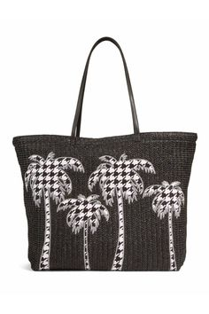 edc131385d9 Vera Bradley Large Straw Tote in the Midnight Houndstooth Palm Trees motif.  Soft, flexible