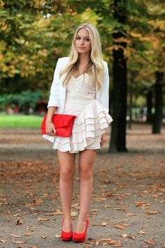 Clutch with extremely beautiful dress paired with clutch matching swede pumps