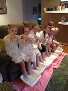 Cucumbers being pampered at a birthday party!
