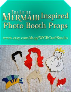 """Inspired by Disney classic """"The Little Mermaid,"""" this photo booth prop set will take you for a swim under the sea, where the algae is always greener and you can collect tons of thingamabobs and dinglehoppers! Watch out for the sharks though (especially during Shark Week)."""