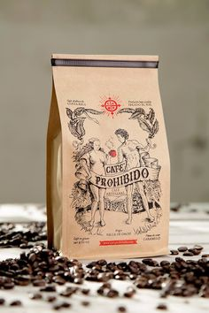 Forbidden Coffee: Creative Agency: Pupila Estudio;  Art Director: Alfredo Enciso; Illustration: Marcelo Jiménez; Lettering: Matti Vandersee; Project Type: Produced, Commercial Work;  Location: Costa Rica