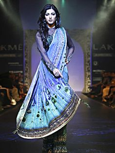 A digital printed sari in Georgette Jacquard fabric with embroidery