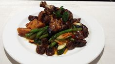 Pinot Noir MacFarlane Pheasant with brown sugar roasted sweet potatoes and verdure saute. Pinot Noir Champignons Demi Sauce- Sauteed Mushrooms and shallots in a Pinot Noir reduction with a house-made veal demi-glace Easy Pheasant Recipes, How To Cook Pheasant, Sauteed Mushrooms, Roasted Sweet Potatoes, House Made, Green Beans, Entrees, Chicken Recipes, Beef