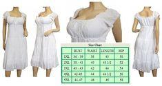 Plus Size Sun Dresses for Woman - White Cotton Empire Waist
