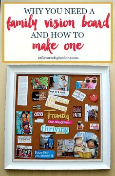 How to create a vision board. Making a family vision board is not only a fun way to spend time with your husband, but allows you both to get on the same page about where you see yourselves going as a family and how to get there. Goal Board, Creating A Vision Board, Scrapbooking, Family Traditions, Life Planner, Planner Ideas, Making Ideas, Creations, Husband