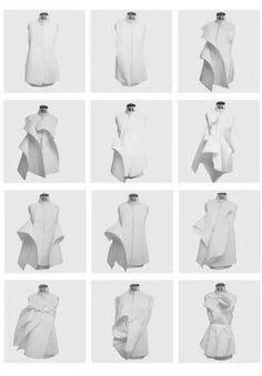 ——奇妙的立体裁剪与设计 An Article about fabric manipulation. Origami Fashion, 3d Fashion, Fashion Details, Trendy Fashion, White Fashion, Fashion Design Inspiration, Mode Inspiration, Mode Origami, Textile Manipulation