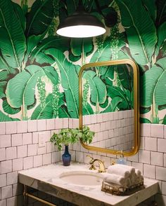 Home Decorating Style 2020 for 40 Lovely Jungle Bathroom Design Ideas, you can see 40 Lovely Jungle Bathroom Design Ideas and more pictures for Home Interior Designing 2020 2758 at Home To. House Design, Tropical Bathroom, House Bathroom, Green Bathroom, Palm Wallpaper, Bathroom Wallpaper, Room Wallpaper, Jungle Bathroom, Bathroom Inspiration