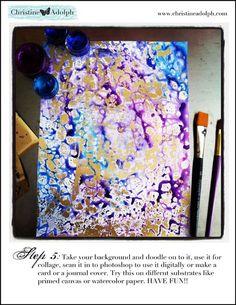 "Krylon Foil Resist tutorial ~ lace + yupo paper + krylon low odor clear gloss + analogous watercolors ~ via this blog, ""Creativity Unleashed""."