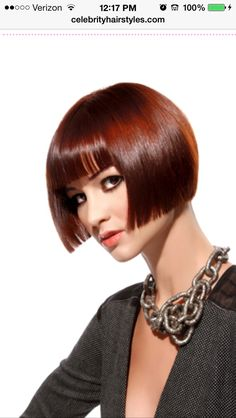 Vintage look. Short bob with bangs. Great color