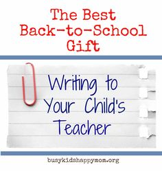 Writing to Your Child's Teacher-questions to get you started-gives them insight into your child. From Busy Kids=Happy Mom. Pinned by SOS Inc. Resources @sostherapy.