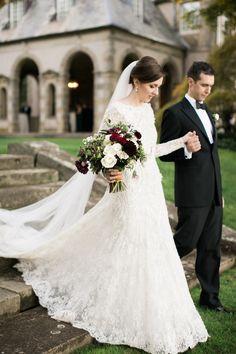 Photography : Rebecca Arthurs | Floral Design : Greenlion Design | Wedding Dress : Elie Saab  Read More on SMP: http://www.stylemepretty.com/2016/03/21/elegant-intimate-glen-manor-wedding/