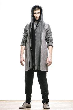 Płaszcz z kapturem,szary - moxos - Płaszcze