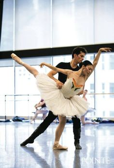 """The Joffrey Ballet rehearses Christopher Wheeldon's """"Swan Lake""""  Dylan Gutierrez and Victoria Jaiani as Prince Siegfried and Odette  Photo by Quinn Wharton Photography"""