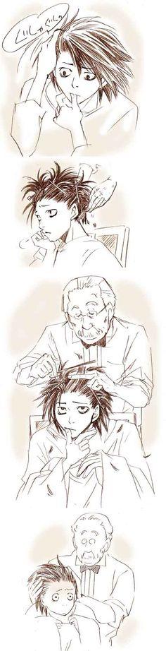 Watari decides to give L a haircut. hahaha