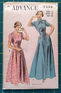 Vintage 1940s Sewing Pattern RARE Advance 5326 Dress & Housecoat 34 Bust Size 16