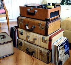 Awesome suitcases from Jennifer's Vintage Glam Loft
