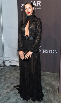 Adriana Lima in a black Zuhair Murad Couture long-sleeve dress