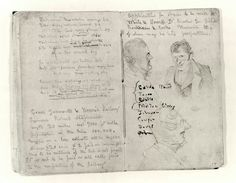Branwell Bronte's notebook from 1841, filled with sketches and poetry. (Courtesy of the Bronte Parsonage Museum)