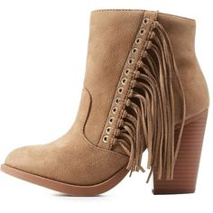Soda Soda Fringed Stacked Heel Round Toe Boots ($46) ❤ liked on Polyvore featuring shoes, boots, taupe, cowboy boots, short cowgirl boots, ankle cowboy boots, short boots and fringe cowboy boots