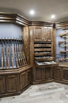 Convert Your Garage into a Man Cave - Man Cave Home Bar Weapon Storage, Gun Storage, Storage Ideas, Hidden Storage, Garage Storage, Man Cave Bar, Man Cave Garage, Garage Bar, Gun Safe Room