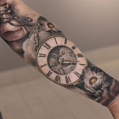 http://tattooideas247.com/pocket-watch/ Pocket Watch #Cogs, #DarwinEnriquez, #Flower, #PocketWatch, #RomanNumerals, #Sleeve
